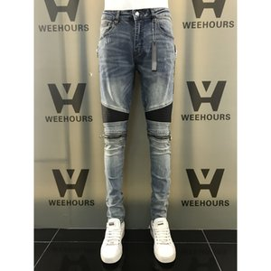 2020new Selling schöne Motorrad Jeans Damen High Waist Jeans Individuelle Punkrock Private Label-Revers-Retro Gradient Gene Männer Hip Hop Jeans
