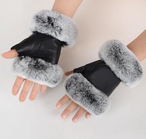 Winter Fashion Black Half Finger Genuine Leather Gloves Sheep Skin Fur Half Finger Fingerless bbyBQl bde_home