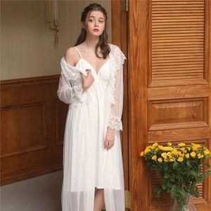 Two 2 Pieces Sleepwear Women Night Wear Home Robe Gown Set Transparent Silk Robe Kimono Negligee Lace Nightie Peignoir Sets T418