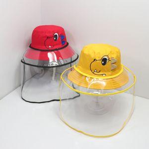 Çocuklar toz geçirmez Kepçe Şapkalar Outdoor FWL Kargo Çocuklar Dinozor Koruyucu Kapak Çıkarılabilir Emniyet Yüz Kalkanı Balıkçı Şapka FWA1072 Caps