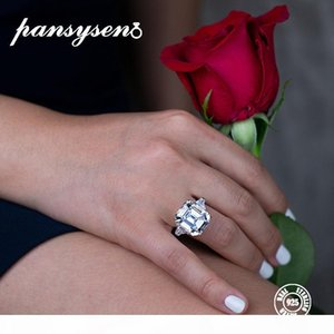 PANSYSEN Luxury Created Moissanite Gemstone Wedding Engagement Rings For Women Real 925 Sterling Silver Fine Jewelry Size 5-12 LY191226