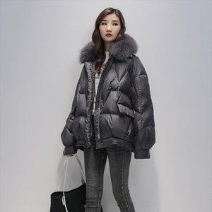 2020 Real Fox Fur Women White Duck Down Jacket Female Thick Warm Down Coat Good Quality Winter Coat Women Loose Parka