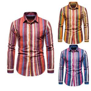 Szmxss homens listrado casual slim fit camisetas moda social manga longa vestuário masculino camisas hip hop clássico botão macio tops1