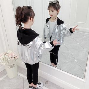 Spring Autumn Thick Girls Jackets Kids Outerwear Letter Sport Hoodied Coats Children Clothing Teenager Trench Coat 8 10 12 years
