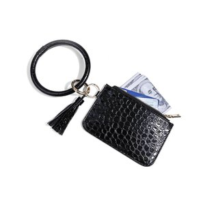 8 Designs Small Round Zipper Keychain Purse Leather Keychain Zipper Coin Pouch Wallet DHC1762