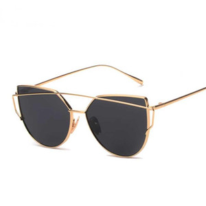 25 unids / lote Sun Cat Marca Mujer Plane Mirror FMALE Gafas de sol Plano Oro Vintage Eye Eye Fashion Glasses Rose Cateye Lady Eyewear Aafao
