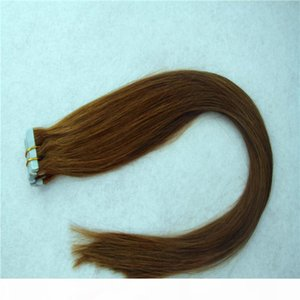 Light Brown Color Straight Remy Human Hair PU Skin Weft Hand Tied Tape In 40Pcs 100G 2G Pcs Extensions 16'' 20'' 24&#039