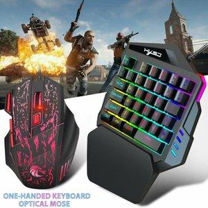 واحدة اليد الألعاب 7colors لوحة المفاتيح الصمام الخلفي USB صغير السلكية 35keys 5500DPI فأرات احد بمفرده لالهاتف الذكي المحمول