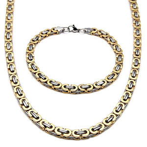 Hot sale Fashion Silver Tone Necklace Stainless Steel Mens Bracelet Flat Byzantine Chain Length 22 inch
