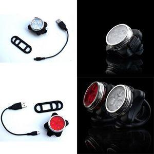 USB Şarj Kafası Arka Lambalar Alüminyum Alaşımlı Plastik Bisiklet Bisiklet Işık Glow 3 LED Arka Lambası Kırmızı Beyaz Yağmur Geçirmez Anti Düşen 8XQ O2