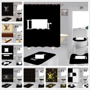 4PCS Duş Perdeleri Seti Tide Mektupları Logo Klozet Kapağı Kaymaz Tuvalet Mats Moda Banyo Aksesuarları Kapaklar