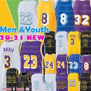 2020 2021 Лос 23 Анджелес Джерси Энтони 3 Дэвис Алекс 4 Caruso 6 Мужские Youth Kids Kyle 0 Kuzma Белый Желтый Баскетбол Джерси