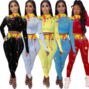 Women Tracksuit Sexy Shaping High Collar Long Sleeve Crop Tops Pants Leggings Color Splash Ink Casual Two Piece Outfits Sports Suit E92803