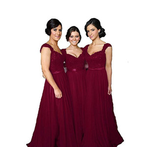 Capped Sweetheart Lace Chiffon Long Bridesmaid Dresses 2021 Purple Burgundy Royal Blue lavender Wedding Party Dress