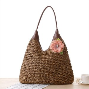 Bohemian Flower Women Shoulder Bags Casual Rattan Straw Bag Large Capacity Wicker Woven Female Handbags Summer Beach Purse Totes