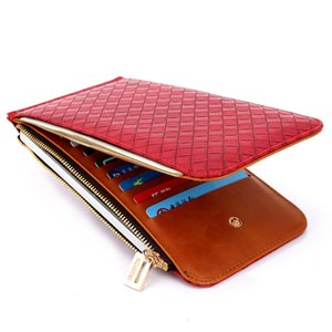짠 패턴 캐주얼 저렴한 푸 여성 지갑 카드 슬롯 Bifold 케이스 긴 지갑 BOGESI 미니멀 19 * 10.5 * 1.5cm의 X489