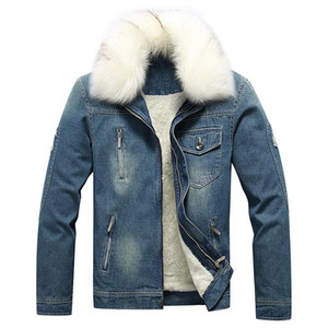 Mens Fur Collar Denim Coat Winter Jackets Coats Cotton Padded Casual Jacket Male Denim Thick Clothing