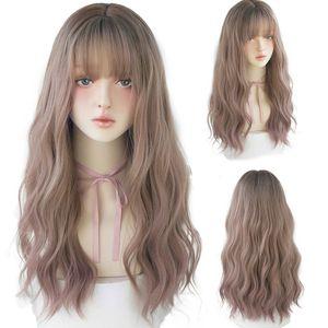 Harajuku Rose Brown Lolita longue perruque Deux couleurs réalistes cosplay perruques pour les femmes avec une frange Wavy perruques de cheveux synthétiques