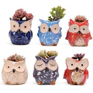 Baykuş Seramik Pot Boş Etli Bitki Pot Kaktüs Saksılar Karikatür Renkli Etli Bitki Masaüstü 6 Stil EWF2289