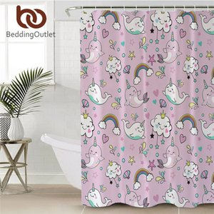 BeddingOutlet Cute Whale Shower Curtain Narwhal Unicorn Bathroom Curtain Cartoon Pink Bath Curtain Clouds Rainbow cortina ducha Towel