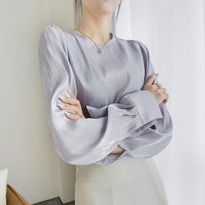 Spring Autumn Long Sleeve Elegant Chiffon Shirt Purple Gray Vintage Blouse Pullover Office Ladies Shirt Female Casual