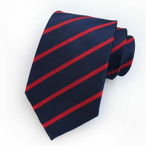 Man 8 cm Pötikareli Kravatlar Resmi İş Gravatá Casual Wedding Parti Tie için Mans Ne Tie Kırmızı Lacivert Çizgili İpek Kravat