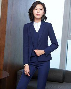 Autumn and Winter Formal Blazers Suits With 4 Piece Jackets + Pants + Blouses Vest & Waistcoat Women Pantsuits Trousers Sets