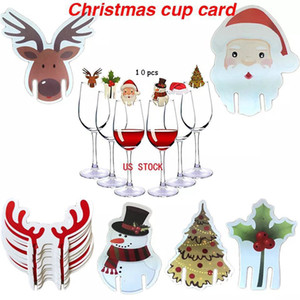 Christmas Cup Card Xmas Party Santa Hat Champagne Red Wine Glass Decoration Home Table Place Decorations Christmas Party Supplies