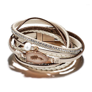 SHUANGR Buckle Leather Bracelet Multilayer Magnetic Buckle Casual Bangle Men and Women Temperament Jewelry Gifts1