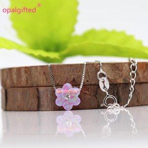 2020 Fleur d'opale synthétique avec collier CZ Pendentif Opal 10mm Fleur rose 925 Silver / Gold Chain Collier pour fille cadeau