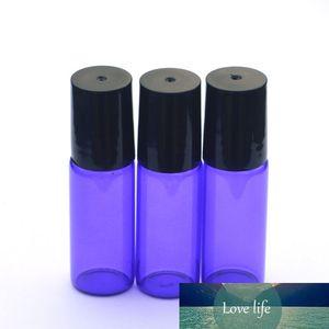 20pcs Hot Blue Sample 5ml Roller Glass Bottle Empty Perfume Essential Oil Roll-On Bottle with Black Plastic Cap