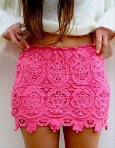 Sexy Mini Hook Flower Crochet Pencil Skirt Lace Petticoat High Waist Bodycon Lace Female Vintage Ladies Pencil Skirt