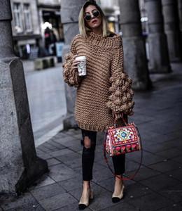 New Autumn Winter Streetwear Handmade Weave Thick Sweater Lantern Sleeve Loose Knitted Sweaters Pullovers Knitwear Outwear Coats