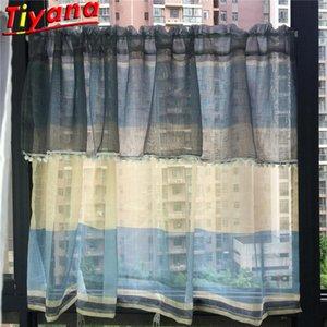 Bay Window Blue   Beige Stitching Half Curtains Home Decoration White Ball Door Window Roman Curtain Partition kitchen Drapes #3