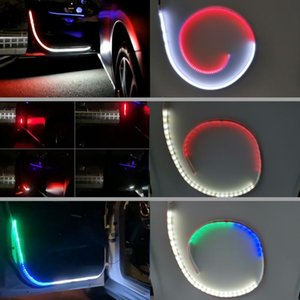 2pcs Strobe Flashing Car Door Light Strips Auto Opening Warning Decoration Flowing Lamp Safety Car Styles Accessories 12v