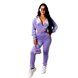 Fashion Womens Soild Color Tracksuits Casual Cardigan Cardigan Two Piece Ensembles Sports Slim Deux Pieces Pantalons