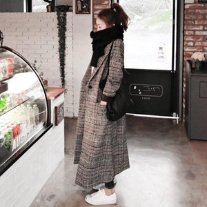 2020 Newest Woman Autumn Plaid Long Coat British Fashion Turn-down Collar Long Sleeve Slim Woolen Trench Coats Plus Size XXL1