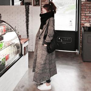 2020 Newest Woman Autumn Plaid Long Coat British Fashion Turn-down Collar Long Sleeve Slim Woolen Trench Coats Plus Size XXL1