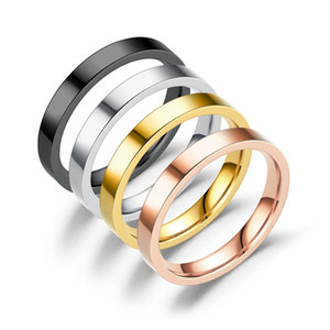 Simplicity thin Couple rings stainless steel Rose gold women ring fashion hip hop jewelry wholesale mens jewelry valentine's gift