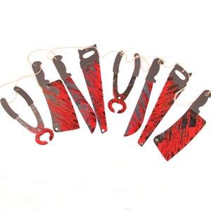 Fête Halloween Décorations de sang Couteau Hanging Ornements cordes Pennant Bannière Bunting pour Terror Halloween Décor maison hantée vin