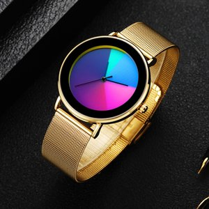 2020 Colorful Casual Mesh Belt Fashion Quartz Gold Watch Mens Watches Luxury Waterproof Clock 1021