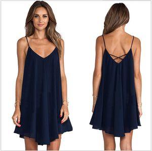 New Fashion Women sexy deep V neck Chiffon dress summer spaghetti strap evening beach casual dresses clothing lady backless sleeveless