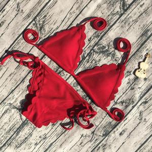 Sexy Bikini Black Red Bandage Woman Bikini Set 2020 Scalloped Swimwear Wave Edge Women Swimsuit Brazil Biquinis Bathing Suits