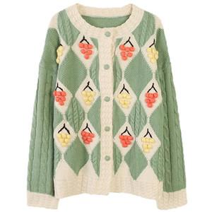 Verde di alta qualità del cardigan del maglione signore lavorate a mano Cardigan Autumn Girl rivestimento lavorato a maglia Maglieria signore Maglione Giacca