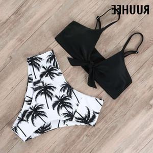 RUUHEE Swimwear Swimsuit 2021 High Waist Bikini Set Push Up Front Knot Bathing Suit Women Summer Beach wear Biquini