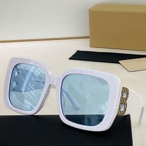Ojos de gran tamaño Gafas de gato Mujeres Diseñador Sunglass Square Plate Frame Big Double B Letra Pierna Playa Estilo B 4355 Lente azul claro Gafas de sol
