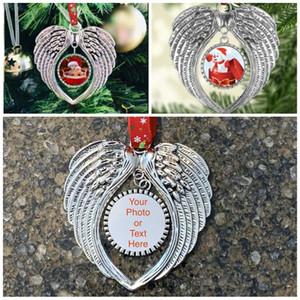 Décorations de Noël Ornement 2020 aile d'ange coeur d'amour personnalisé arbre Balises bricolage Pendentifs 3 9HL H2