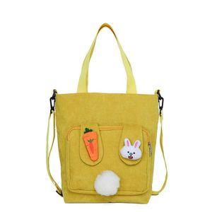 Big Totes Corduroy Shoulder Bag Zipper Large Capacity Simple Canvas Purse Messenger Bags Female Solid Soft Cloth Handbag