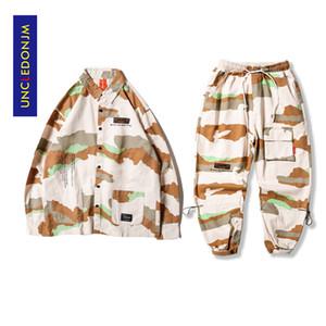CleedonJM 2 peças conjuntos de homens camisa tracksuit homens definir camuflagem calças streetwear corredores calças mens roupas hip hop hop dv26-220 x0124