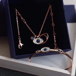 مطعمة الساخنة مصمم المجوهرات المجوهرات الفاخرة قلادة شيطان العين الأقراط سوار 925 فضة الماس الطبيعي مع مربع